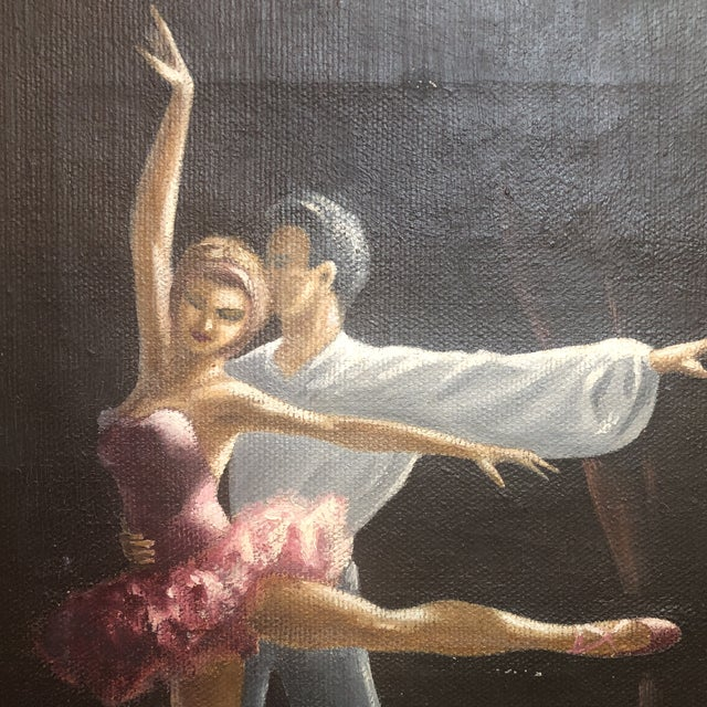 Vintage Oil Painting of Two Classical Ballet Dancers on Stage For Sale In Houston - Image 6 of 8