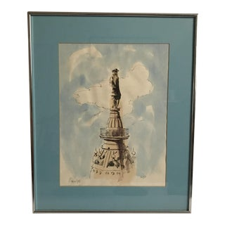 Watercolor on Paper of William Penn Statue For Sale