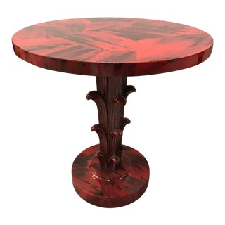 Serge Roche Style Art Deco Red Laquer Palm Tree Tables For Sale