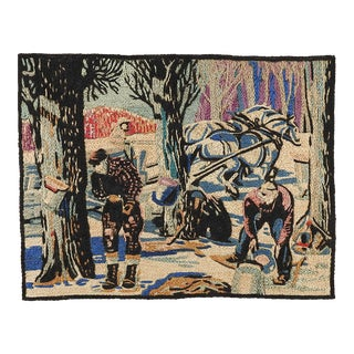 Maple Sugaring Sap Collection Embroidered Tapestry For Sale