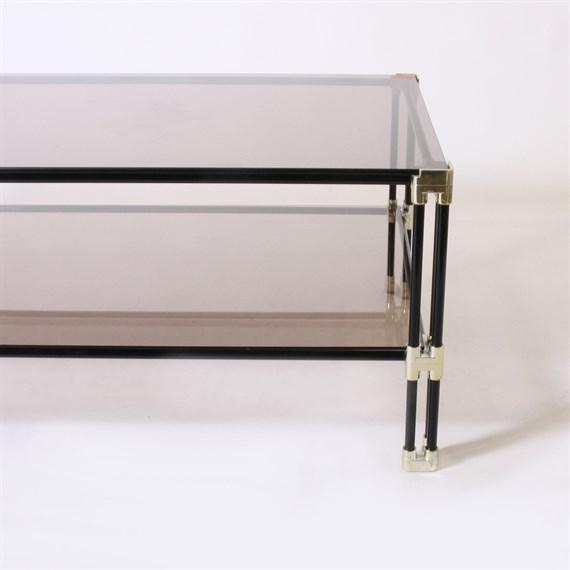 Silver and black metal coffee table with dark glass top, c. 1950.