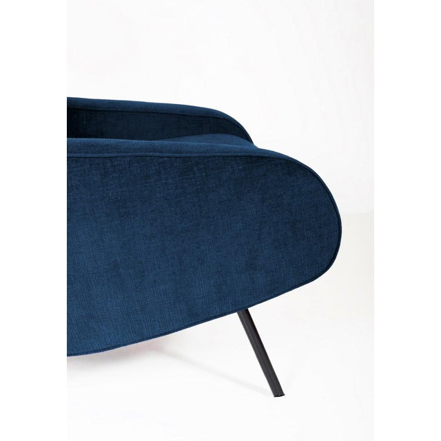 1950's Italian Armchairs Reupholstered in Slate-Blue Velvet - a Pair For Sale - Image 4 of 5