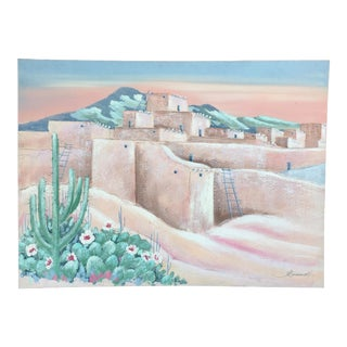 Ancient Adobe Home Painting For Sale