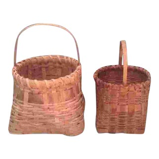 1960s Vintage Woven American Baskets - a Pair For Sale