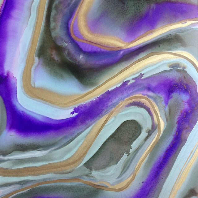 A vivid, flowing composition of alcohol ink on yupo paper. Metallic gold ink shimmers in the light. Absolutely...