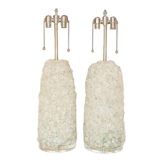 "Glass Cluster ""Rock Candy"" Table Lamps Ice For Sale"