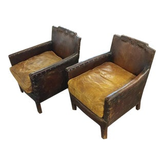 C.1930s French Leather Club Chairs - A Pair