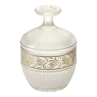 Fluted Frost Glass Jar For Sale
