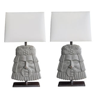 Well-Carved Pair of Italian Romanesque Style Gray Painted Wooden Masks now Lamps For Sale