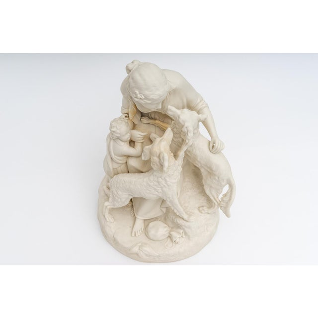 English Bisque Parian Ware Sculpture Figures With Hunting Dogs For Sale - Image 9 of 13