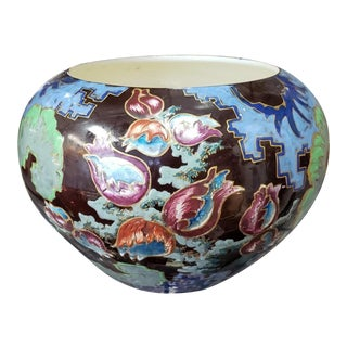 1870s French Choisy Le Roi Hautin Boulenger & Cie Faience Porcelain Rotund Vase For Sale