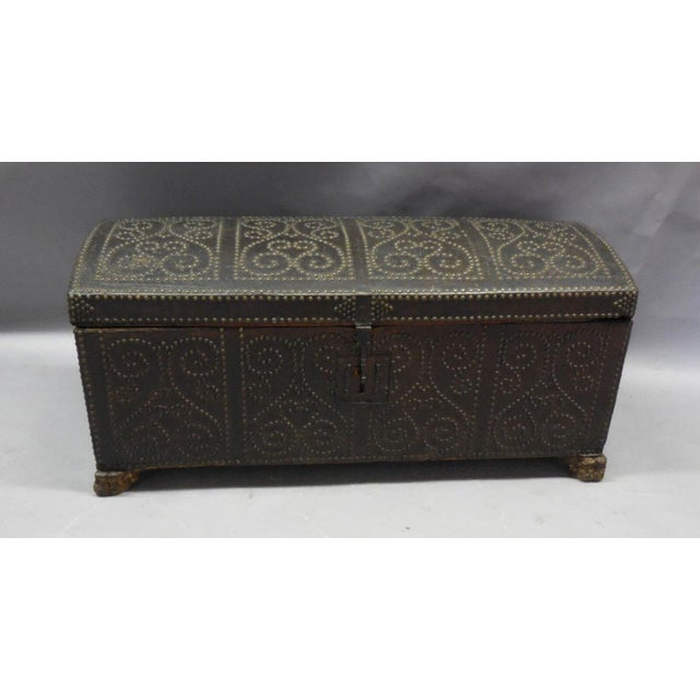Mediterranean Spanish Leather Trunk For Sale - Image 3 of 11