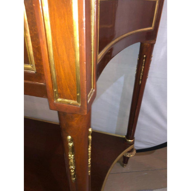 Pair Marble Top Russian Neoclassical Consoles W Concave Sides & Bronze Mounts For Sale - Image 10 of 12