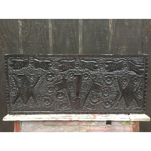 1930s Masonic Iconography Hand Carved Chest For Sale - Image 5 of 10