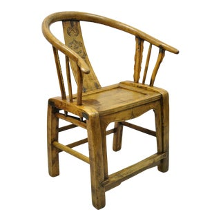 Chinese Carved Hardwood Horseshoe Ming Style Barrel Back Lounge Arm Chair For Sale
