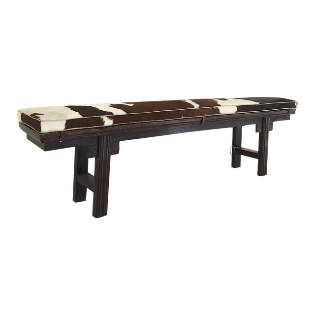 Vintage Chinese Bench with Cowhide Cushion - Image 1 of 8