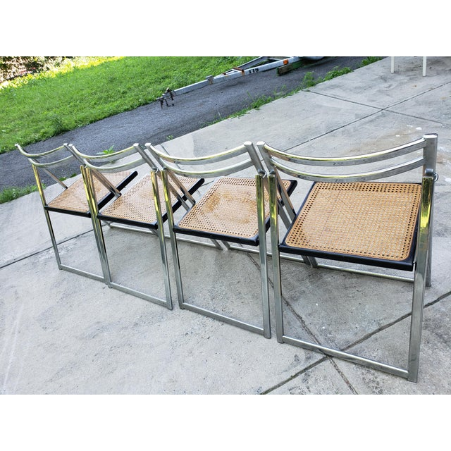 Mid Century Modern Chrome & Cane Folding Chairs- Set of 4 For Sale - Image 9 of 13