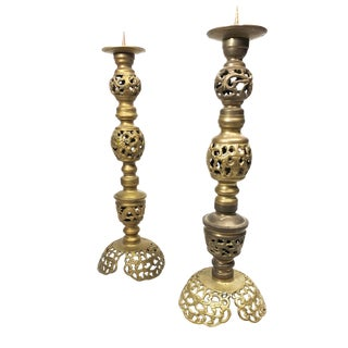 Large Vintage Ultra Mid Century Tall Solid, Ornate Brass Candlesticks - a Pair For Sale