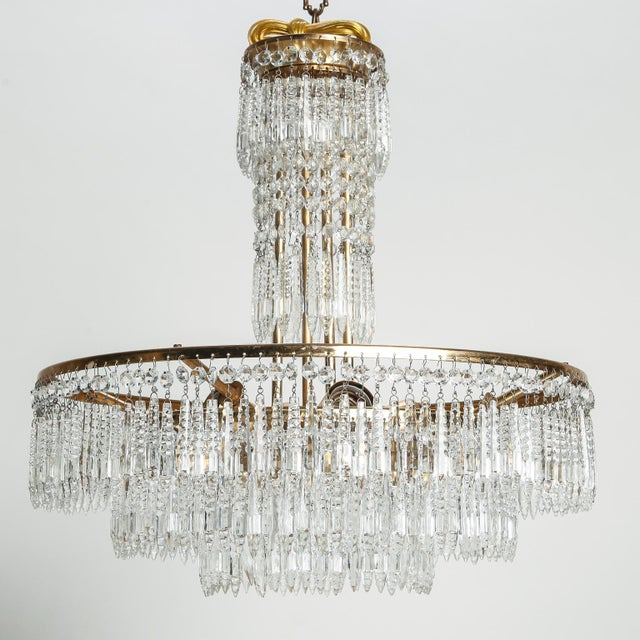 French French Hand Cut Crystal and Brass Chandelier For Sale - Image 3 of 7