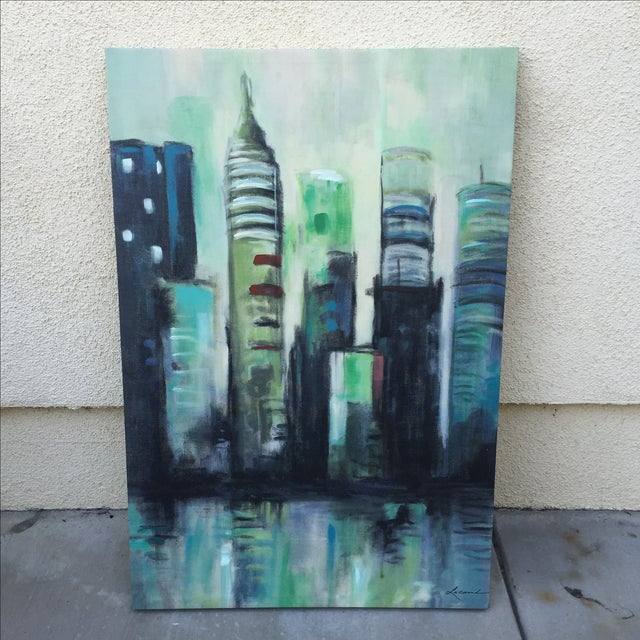 Twilight Cityscape on Canvas - Image 2 of 11
