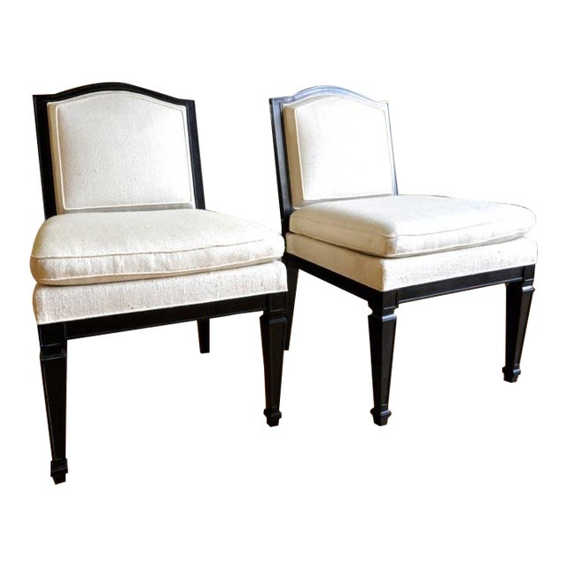 Style of J.M.Frank Neoclassic Pair of Slipper Chairs Covered in Silk For Sale