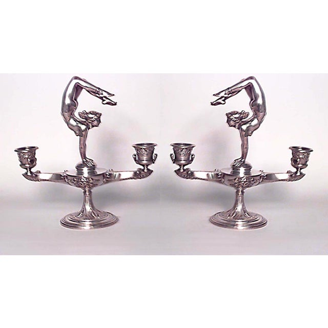 Art Nouveau Pair of French Art Nouveau Silver Plate Over Bronze Candelabras For Sale - Image 3 of 3