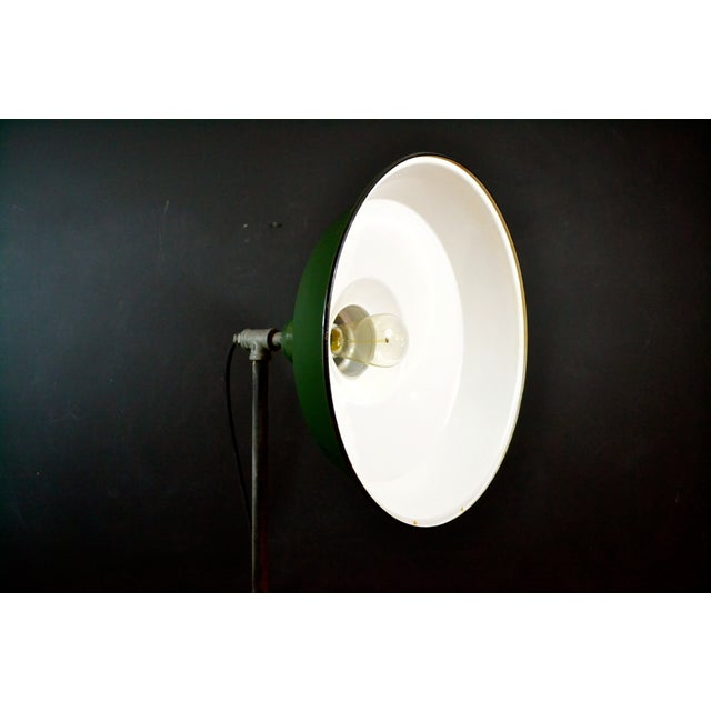 Industrial Floor Lamp With Green Enamel Shade - Image 6 of 8