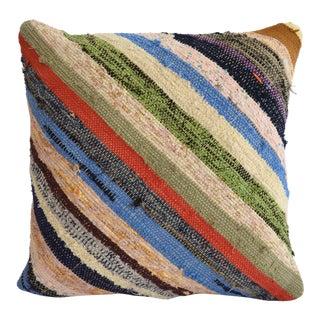 "Pillow Cover Vintage Handmade Cotton RagRug Kilim Sham Throw Pillow - 16"" X 16"" For Sale"