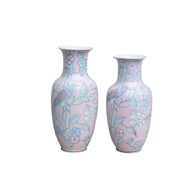 Blue Decorative Chinese Vases in Blush, a Pair For Sale - Image 8 of 8