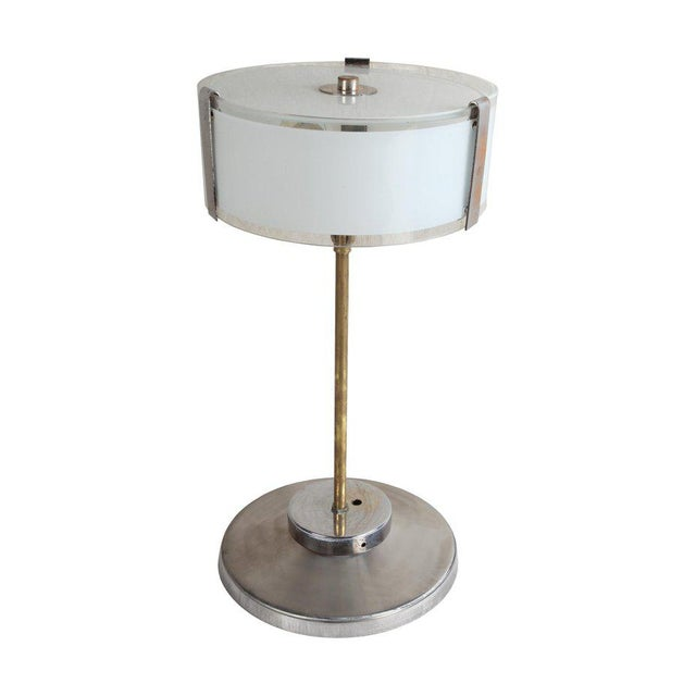 Mid Century Standard Lamp: Mid-Century Modern Chrome And Frosted Glass Table Lamps