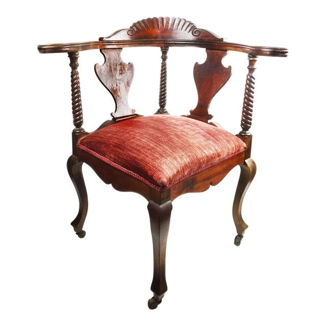 Antique Victorian Hand Carved Corner Chair For Sale