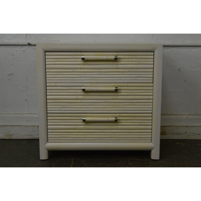 Century Vintage Pair of Faux Bamboo White Painted 3 Drawer Chests Nightstands For Sale - Image 9 of 13