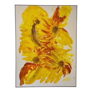 "Abstract Yellow Painting Signed ""Marty For Sale"