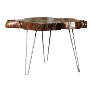 American Custom Magnolia Slab Cocktail Table with Three Metal Hairpin Legs For Sale
