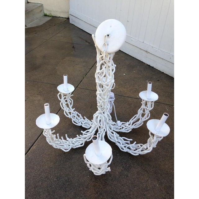 Metal 1950s Metal Coral White Chandelier For Sale - Image 7 of 9
