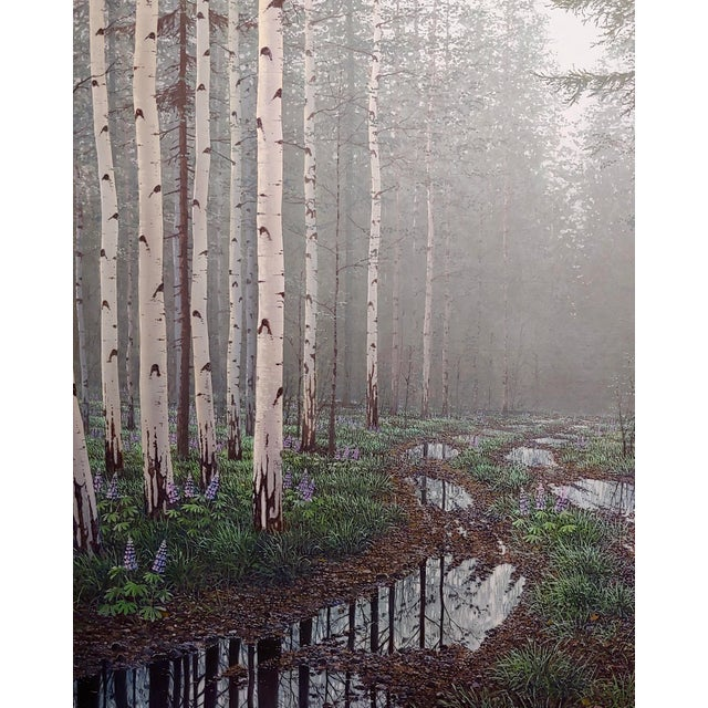 1990s Jack Braman -Inside a Misty Forest of Aspens -Realism-Oil Painting For Sale - Image 5 of 12
