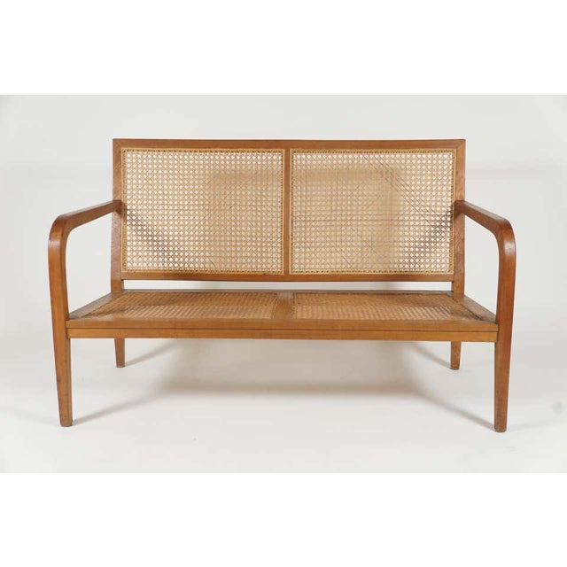 Charlotte Perriand 1940s French 'Art Moderne' Wood Frame & Cane Settee Loveseat with Horsehair Cushions Manner of Corbusier/ Jeanneret For Sale - Image 4 of 12