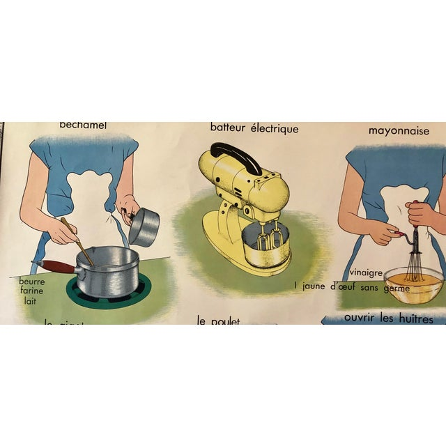 French 1950s Vintage French Home Cooking School Poster For Sale - Image 3 of 8