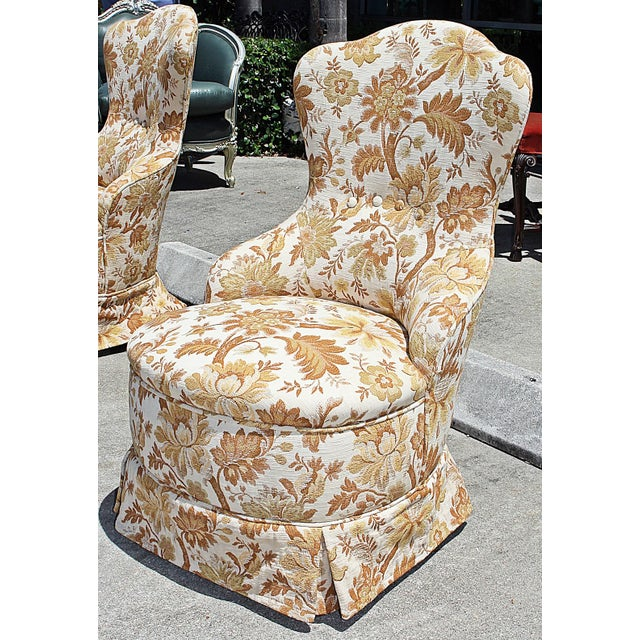 Brocade Slipper Chairs - A Pair - Image 4 of 6