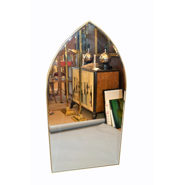 Italian Gothic Arch Brass Wall Mirror Hollywood Regency For Sale - Image 10 of 13