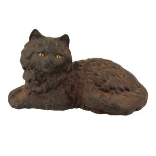Vintage Cast Iron 'Fireside Cat' Doorstoper For Sale