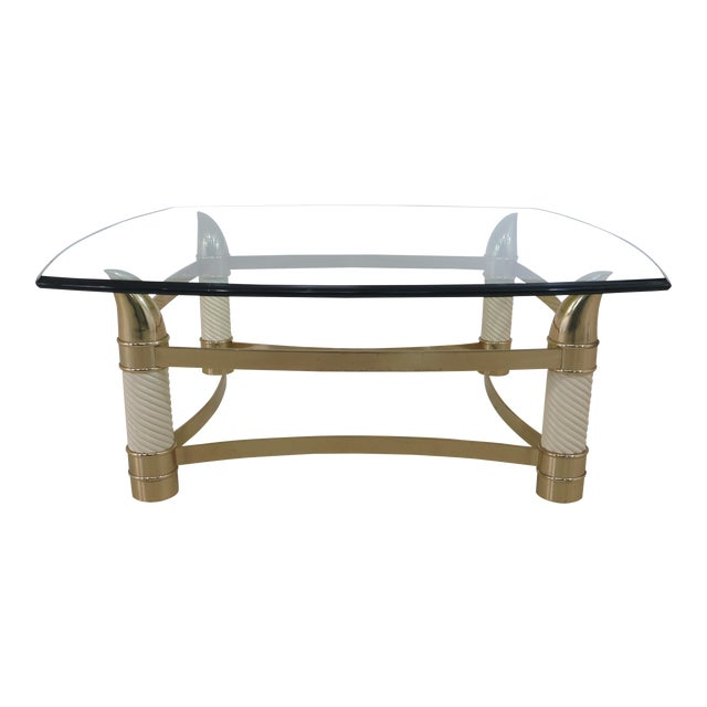 Modern Design Brass & Glass Coffee Table For Sale
