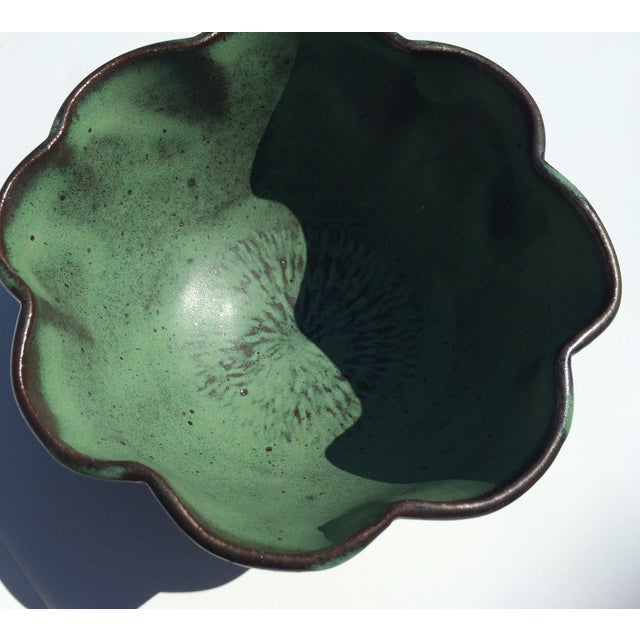 Studio Rosette Flower Green Ceramic Bowl - Image 2 of 6