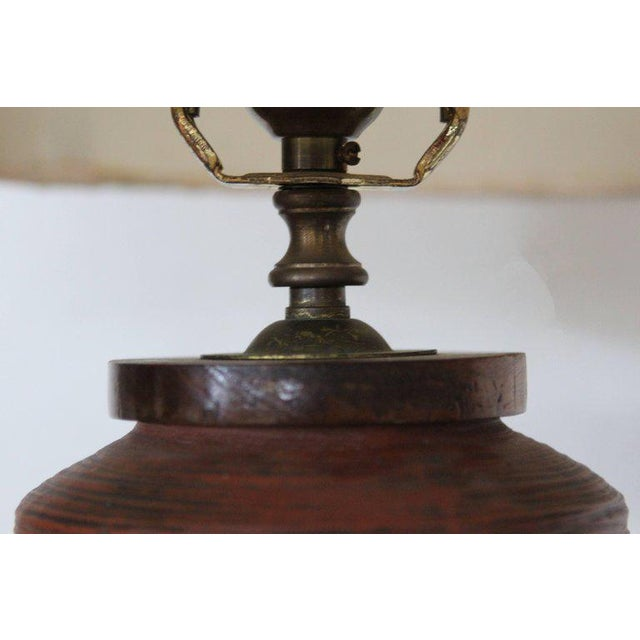 Rust Red Ceramic Table Lamp with Primitive Motif - Image 9 of 9