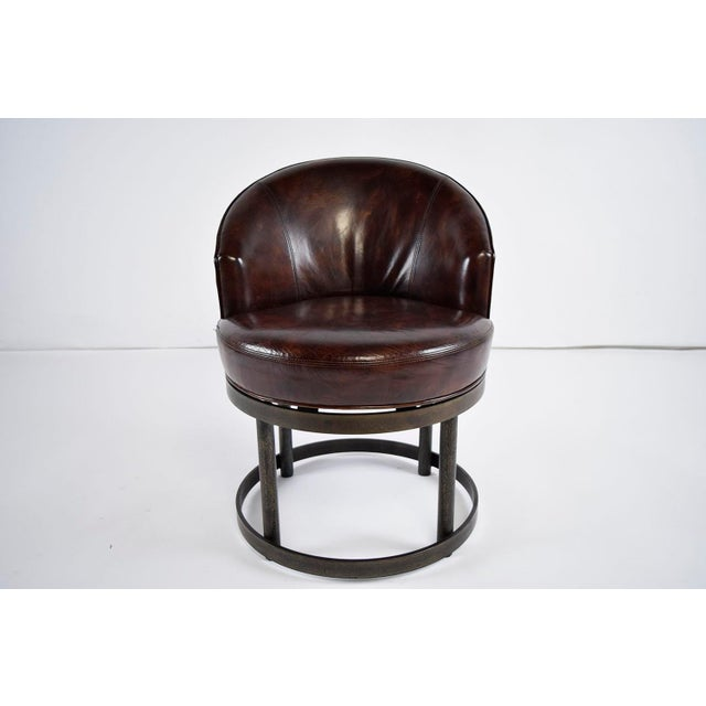 Vintage Art Deco Style Leather Accent Chairs - Set of 4 - Image 4 of 10