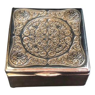 Antique Jennings Brothers j.b. Lavishly Scrolled Jewelry Trinket Cigarette Box For Sale