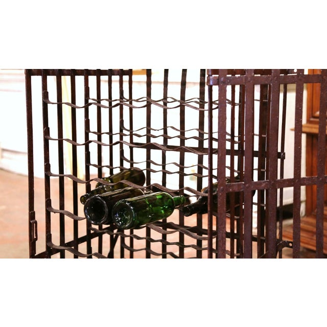 Late 19th Century 19th Century French Iron Hundred-Bottle Wine Rack Cabinet From Burgundy For Sale - Image 5 of 9
