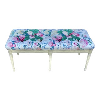 Upholstered French Wood Bench For Sale