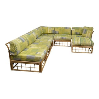 Mid Century Rattan Bamboo Large Modular Sectional Sofa For Sale