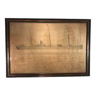 1886 Antique J.J. Henderson Original American Design for Cargo Steamer Ship Print For Sale